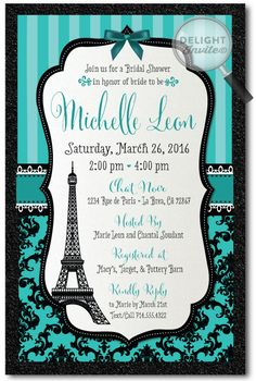 French Paris Eiffel Tower Bridal Shower Invitations [DI-1536] : Custom Invitations and Announcements for all Occasions, by Delight Invite