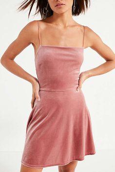 UO Velvet Straight-Neck Mini Dress | Urban Outfitters