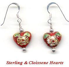 Flower Heart Earrings Sterling Wire Wrapped Handmade OOAK Gift
