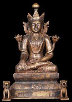 "Burmese Bronze Buddha Statue wtih 2 Lions 9""♥♥♥"