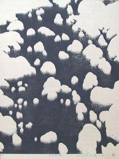Sōichirō TOMIOKA(富岡惣一郎 Japanese, 1922-1994) 谷川新雪 mountain stream with fresh snow  print on Japanese paper  via