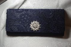 New Year's Engagement Party! Navy, Blue, Silver, White and Black. Navy Blue Clutch  Lace Wedding Handbag  Blue by TheOmbreMouse, $34.00