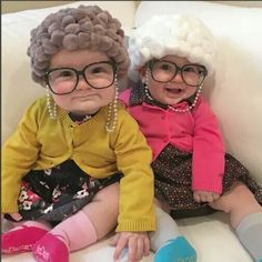 Twin baby girls are just so stinking cute Grandma Halloween Costume, Baby Halloween Costumes, Baby Costumes, Fancy Dress, Birthday, Holiday, Dresses, Style, Fashion