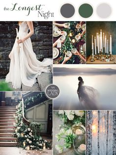 The Longest Night - Enchanting Winter Solstice Wedding Inspiration in Gray and Green with Romantic Candlelight