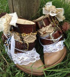 Custom order BOHO GYPSY Wedding boots for by ThePaintedPalomino, $195.00