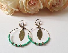 Boucles d'oreilles - Un air de bohème- couleur vert : Boucles d'oreille par mcp-les-crea-de-marie