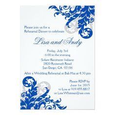 "Royal Blue and Silver Flourish Bridal Shower 5"" X"