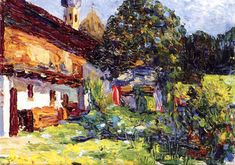Kochel - Farmhouse with Church - kandinsky, 1902