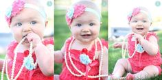 Lace Romper 3 pc SET Aqua & Coral Petti by Pinkpaisleybowtique