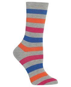 01bb85c6573 Hot Sox Women s Bold Stripe Crew Socks   Reviews - Handbags   Accessories -  Macy s