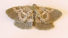 Fabric Geometer Moth Brooch with Vintage Lace. €28.00, via Etsy.