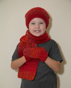 Kids Scarf Set/Crochet Slouchy Beanie Hat/Kids Mittens/Crochet Mittens/Crochet Gloves/Red Scarves/Red Beanies/Christmas Gifts/Winter Scarf by Mandyscrochetshop on Etsy