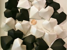 24 Origami Hearts (3D).Black and White.Handmade.Wedding favor.Bridal shower.party.gift for her.Table decor.Valentine's Day.Paper heart