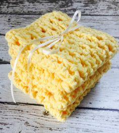 Eco Friendly Cotton Dishcloths Crochet #Kitchen Dish Cloths Yellow Farmhouse Shabby Chic Handmade Set of 3