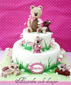 Teddy bear cake by Alessandra Cake Studio Baby Boy Cakes, Cakes For Boys, Baby Shower Cakes, Fondant Cakes, Cupcake Cakes, Teddy Bear Cakes, Teddy Bears, Birthday Cake Girls, Bear Birthday
