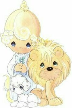 Precious Moments The Lion and the Lamb Precious Moments Quotes, Precious Moments Coloring Pages, Precious Moments Figurines, Mig E Meg, Image Deco, Lion And Lamb, Lion Of Judah, Sarah Kay, My Precious