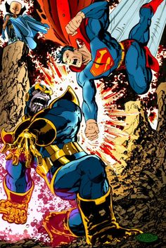 Superman vs Thanos - John Byrne style (marvel and DC)... Talk about clash of the titans!!