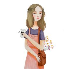 """laura-bernard-illustration: """" Flower shopping and tea pretty much the only thing I like about Spring is the flowers! """""""