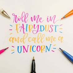 "@teenyletters on Instagram: "" Roll me in fairydust and call me a unicorn In my favourite Pentel fude touch brush pens …"""
