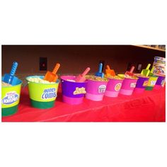 Colored sand pails & spades aren't just for the beach. We used them for a cereal bar at a resident event - shovels are perfect for scooping a bowl of cereal.
