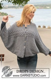 "DROPS jacket with cables knitted from side to side in 2 strands ""Alpaca"". Size S - XXXL. ~Free pattern @ DROPS Design"