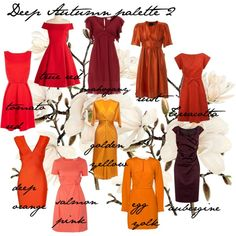 Deep autumn colours - Reds, oranges, yellows, created by carolgrant on Polyvore