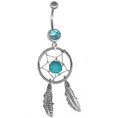 Turquoise Dream Catcher Belly Rings Navel Rings Body Jewelry-5 post lengths available