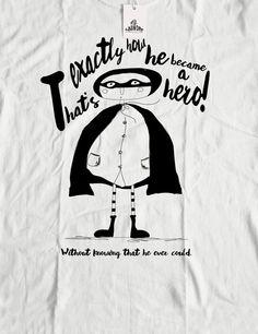 Organic t-shirt Fairtrade Men's shirt White Hero by KUNDAshop #tshirts #organictshirts #fairtrade #organiccotton #etsy #EtsyGifts #etsygreekstreetteam #ethicalfashion #illustration #comics #mensshirts #mensfashion