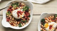 White Beans with Bacon, Poached Eggs and Harissa Butter