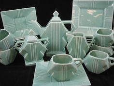 "Stangl Pottery Art Deco Tea Set Square Modern #1081 ""Deco Delight"" c. 1926"