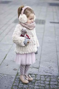Ready for winter | Vivi & Oli-Baby Fashion Life white fur pink tulle skirt tutu purple polka dot tights kid fashion ear muffs dolly