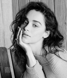 Emilia Clarke is Easy Breezy in Photo Shoot for WSJ. That classy, messy hair look and textured sweater.