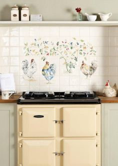 This amazing 40 tile Chicken Coop panel in full colour is perfect for creating a stunning splashback in a country kitchen. features a beautiful hand drawn design and would create a beautiful feature as a splashback in a country kitchen. Handmade ceramic tiles, made in the UK. winchestertiles.com