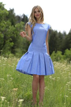 Sade Fit & Flare Dress Blue dropped waist and cap sleeves