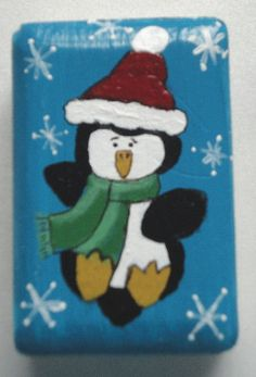 Hand painted penguin soap