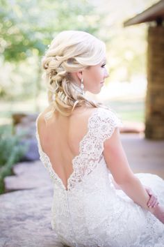 Bridal portraits. Low back allure wedding gown.