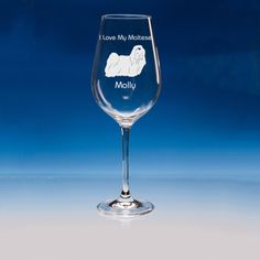 Maltese Dog Lover Gift Engraved Personalised Fine Quality Wine Glass - Your Name and Message - Birthday Gift - Mother's Day Gift