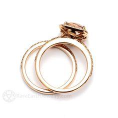 Cushion Halo Morganite Ring Morganite Bridal Set by RareEarth