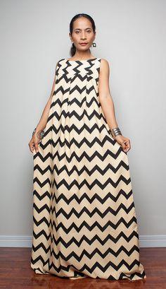 Sleeveless Maxi Dress Black and Cream dress Happy by Nuichan, $59.00
