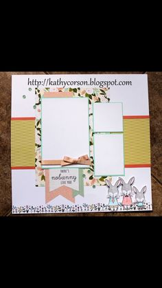 February Stamp of the Month-Easter Bunny, so cute with the Hello Lovely Workshop Your Way Kit. Scrapbook Templates, Scrapbook Sketches, Scrapbook Page Layouts, Scrapbook Paper Crafts, Scrapbook Cards, Scrapbooking Ideas, Photo Layouts, Paper Crafting, Some Bunny Loves You