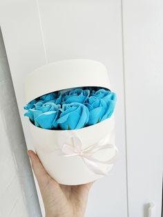 Items similar to Bouquet of blue roses from soap in a raspberry hat box for a gift, wedding and home decoration on Etsy Bouquet Box, Rose Bouquet, Rose Hat, Candy Flowers, Rose Arrangements, Blue Roses, Gift Wedding, Flower Boxes, Handmade Flowers