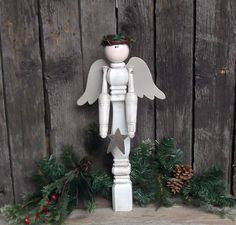 Shabby Chic Angel, Primitive Angel, Antiqued White Spindle Angel, Rusty Star, Wood Christmas Angel, Reclaimed Wood via Etsy