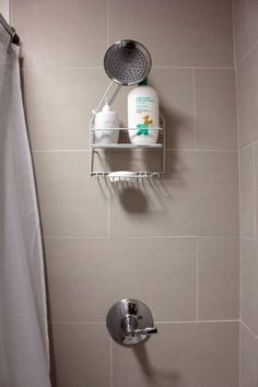 Basement bathroom tiles, love that they are larger tiles, but placed nicely.  I really like that idea. Nicely done!