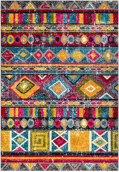 Rugs USA Multi Albina Retro Tribal Collage rug - Bohemian Rectangle x Orange Carpet, Dark Carpet, Modern Carpet, Red Carpet, Geometric Rug, Tribal Rug, Retro, Where To Buy Carpet, Stain Remover Carpet