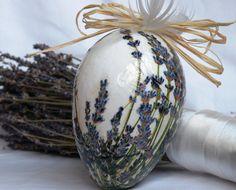 Decorated egg Decoupage goose egg Floral décor Home décor Lavender flowers Lavender decor Hanging egg