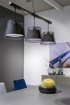 Hanging lamp Mori combination of fabric shade and metal.