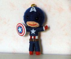 Captain america String doll Voodoo doll keychain / FREE Shipping via Etsy
