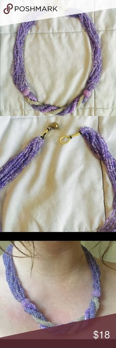 Multi Strand Purple Beaded Necklace So gorgeous, handmade. Easy hoop closure, 23 1/2 inches in length Jewelry Necklaces