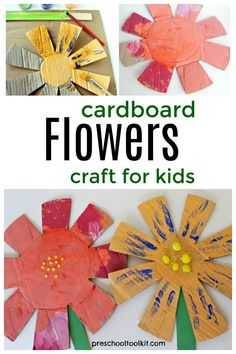 Kids can make beautiful flowers with cardboard and pompoms in this fun craft. Add this painting activity to your spring or summer theme for some hands-on creative play. Preschool Painting, Preschool Art Activities, Painting Activities, Big Flowers, Beautiful Flowers, Fun Crafts, Crafts For Kids, Creative Play, Craft Materials