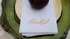 Thankful Embroidered Cotton Napkins - Set of 4 - personalized linens by CeliaLuna on Etsy